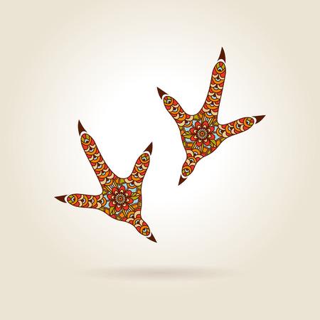 Fußabdruck stilisierte Hahn in der Farbe auf hellem Hintergrund