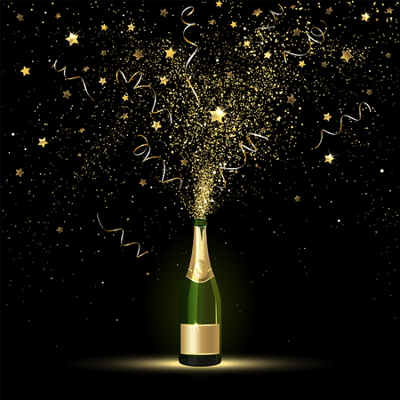 Champagne splashes of gold confetti on a black background Stock Illustratie