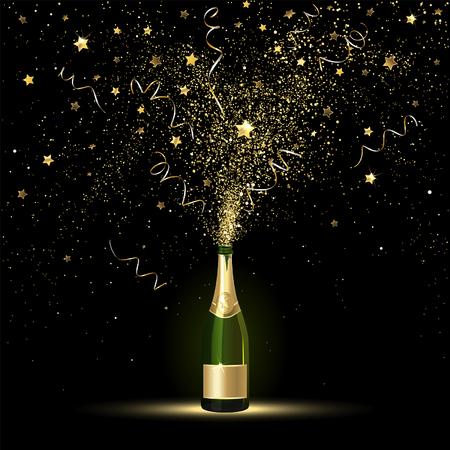 Champagner spritzt von Gold Konfetti auf einem schwarzen Hintergrund