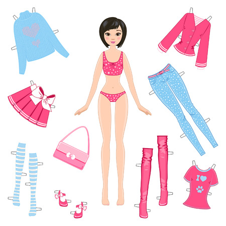 Paper doll with set of clothes on a white background