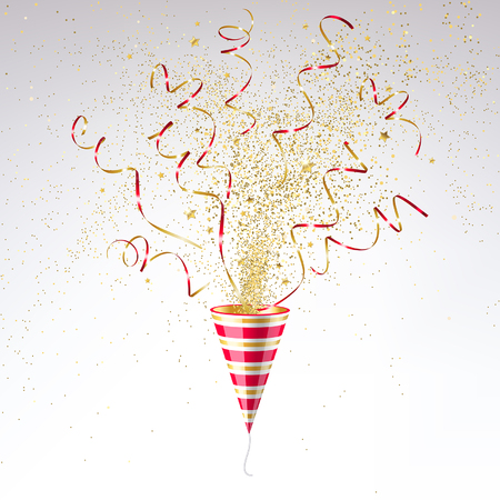party poppers: festive party popper with gold confetti on a light background Illustration