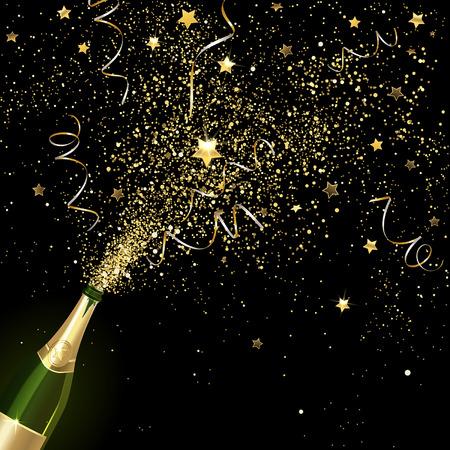 congratulatory champagne with gold confetti on a black background