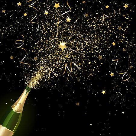 congratulatory champagne with gold confetti on a black background