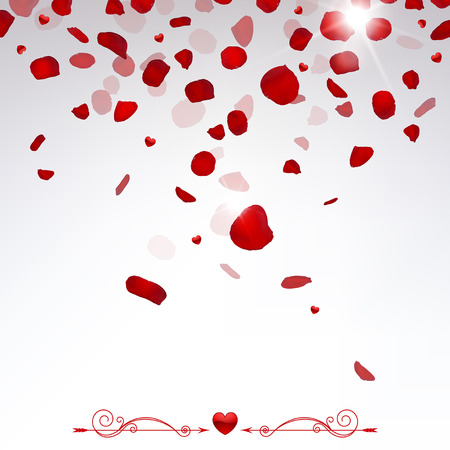romantic background, confetti falling rose petals and small hearts