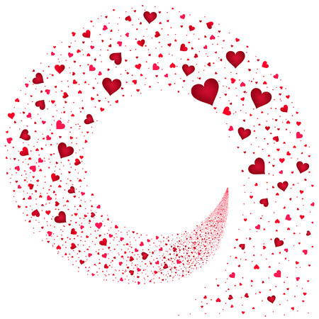 hearts background: stream red hearts on a white background