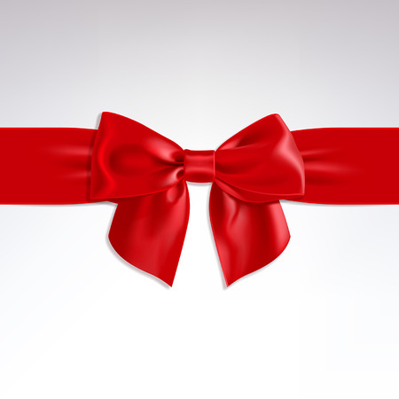 red ribbon bow: red bow of satin ribbon on a light background