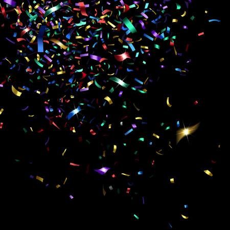 trumpery: bright colorful confetti on a black background