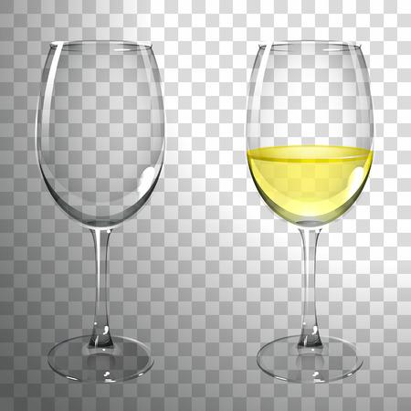 Kieliszek białego wina na transperant back. Ilustracje wektorowe