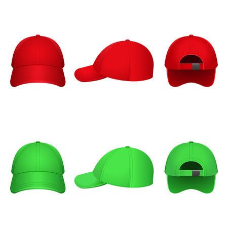 sported: Red and green caps on a white color Illustration
