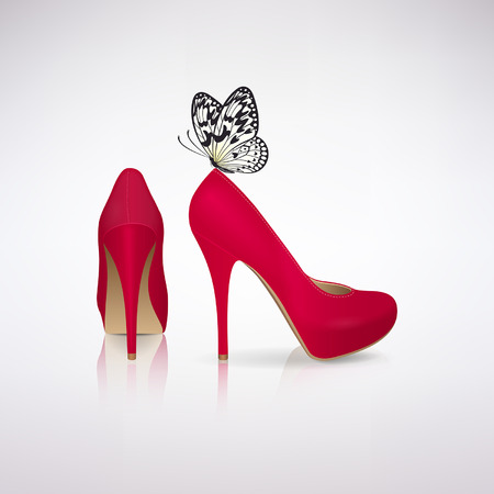 Red high-heeled shoes with a butterfly on a light background Illustration