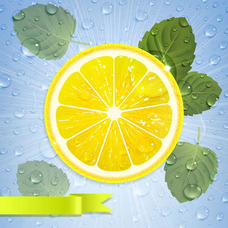 refreshing lemonade with lemon, mint leaves and water drops