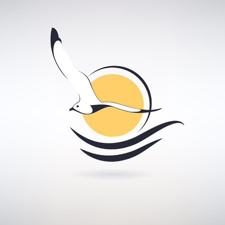 symbol seagull with sun and sea waves.