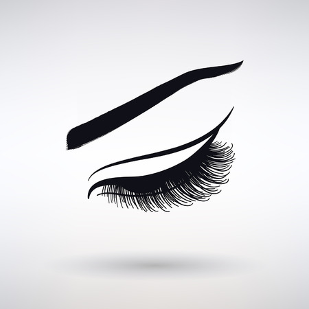 Icon female long lash on a light background