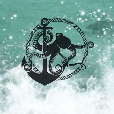 Symbol of octopus with an anchor on the background of the sea.