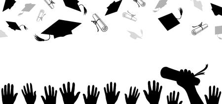 白い背景で空にスローされる卒業証書を持つ大学院キャップ