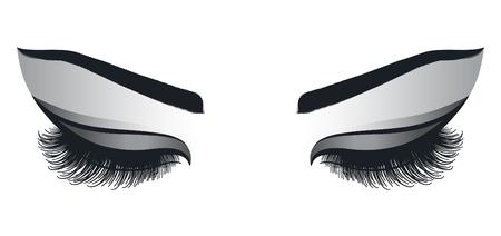 Female eyes with long eyelashes on a white background
