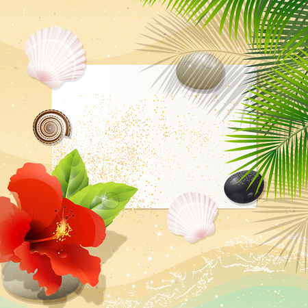pebble: tropical beach with white paper leaf and red hibiscus