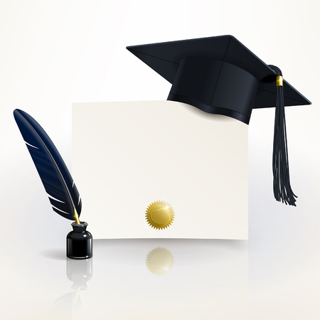 Student Life: diploma of graduation with a graduate cap and pen Illustration