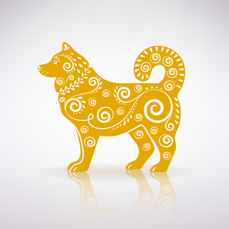 stylized yellow dog with ornament on a light background