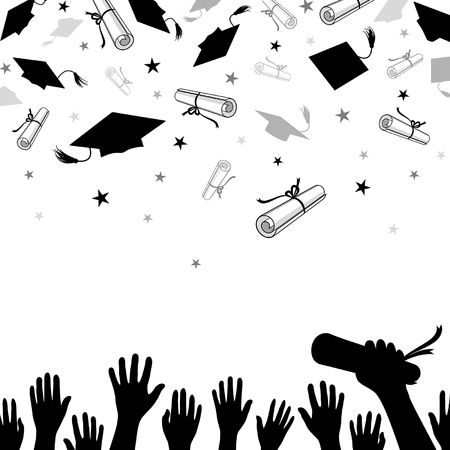 congratulatory background on graduation with caps and diplomas and confetti of stars Ilustração