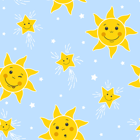 seamless pattern with funny suns and stars on a blue sky background