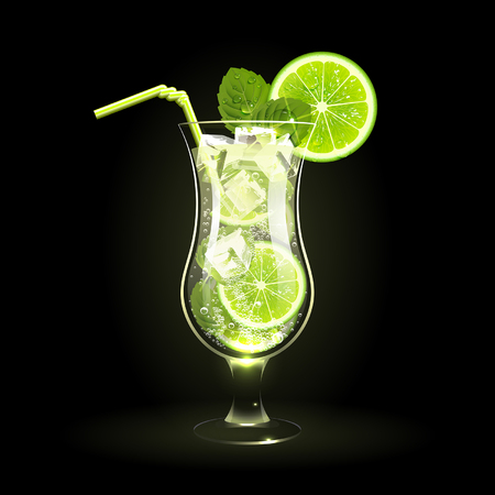 mojito cocktail with lime and mint leaves on a black background