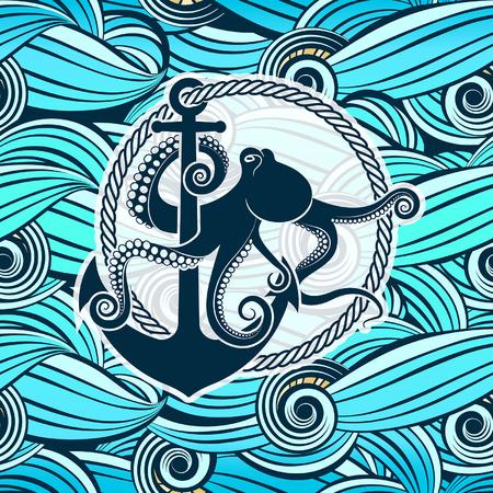 様式化された海の波の背景に対してタコのシンボル  イラスト・ベクター素材