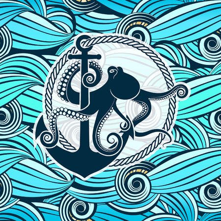 symbol of octopus against the background of stylized sea waves