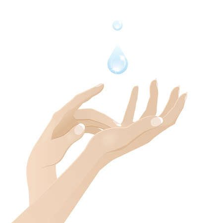 touching: Female hands care and hygiene concept on a white background. Illustration