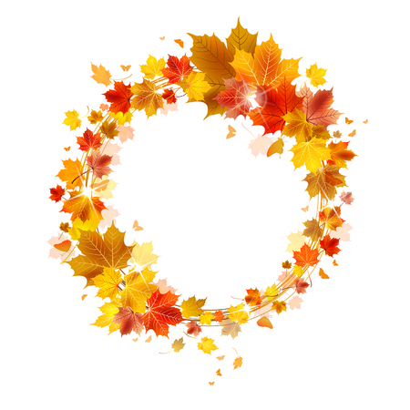 autumn wreath of maple leaves on a white background