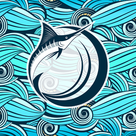 symbol of  marlin fish against the background of stylized sea waves Illustration
