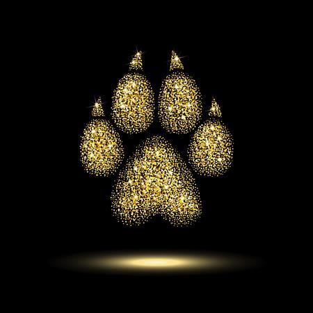 szlak pies ze złotymi cekinami na czarnym tle Ilustracje wektorowe