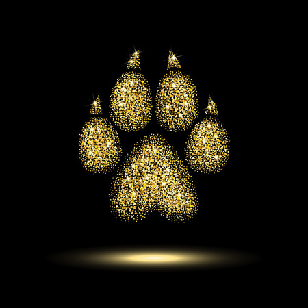 trail dog from a golden sequins on black background Imagens - 82672206