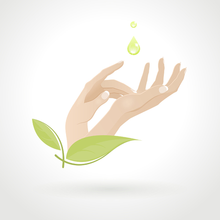 female hand care with herbs on a light background Illustration