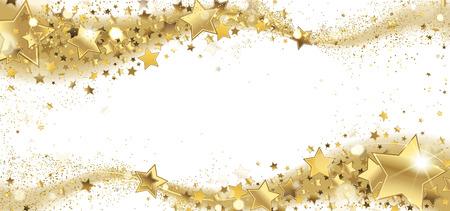 frame of golden sparkling stars on a white background Illustration
