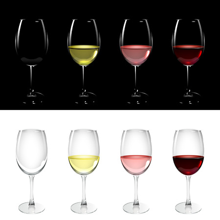 wineglass with white, pink and red wine on black and white background
