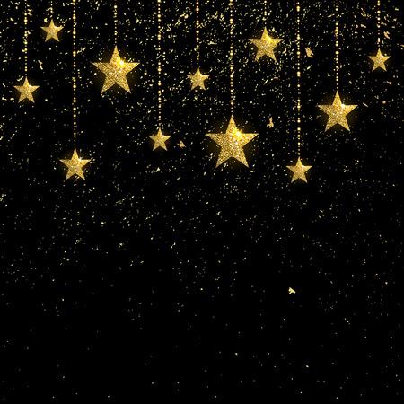 golden sparkling stars with golden confetti on a black background Illustration