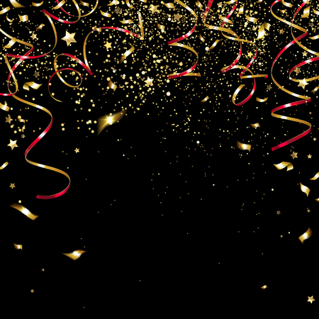 congratulatory golden confetti and serpentine on a black background Illustration