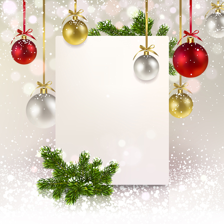 Christmas greeting banner with Christmas balls and a spruce branch on a pearly background Illustration