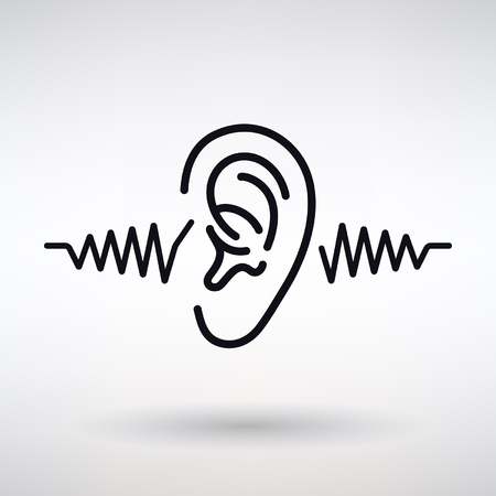 An ear listens icon on a light background on plain background