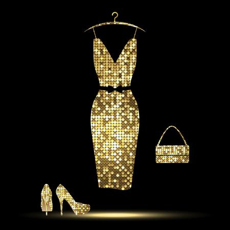 luxurious golden  dress, high-heeled shoes, bag on a black background Ilustração