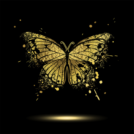 Decorative golden butterfly on a black background Çizim