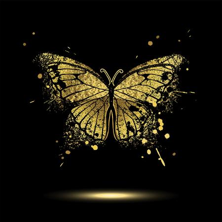 Ozdobny złoty motyl na czarnym tle