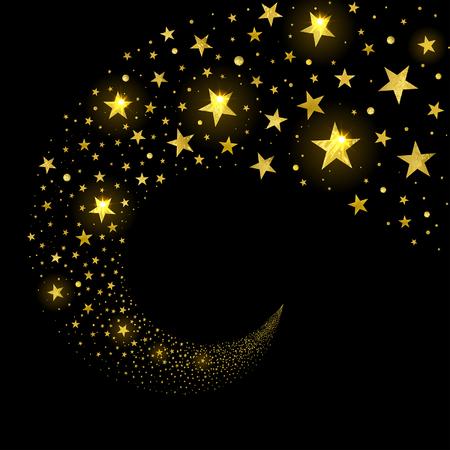circular stream of sparkling stars on a black background Stok Fotoğraf - 89754530