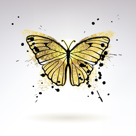 Decorative glowing golden butterfly on a light background