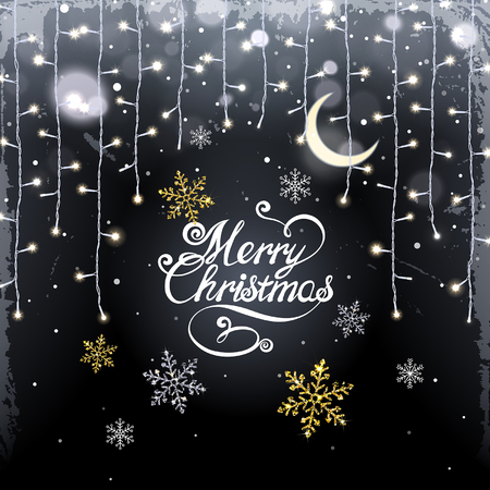 Christmas background with glistening garland and snowflakes on a black background