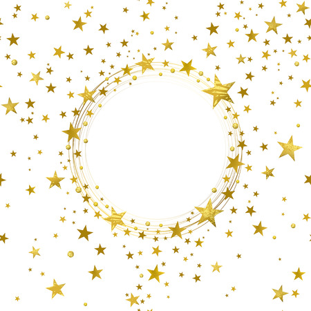 round banner of gold stars on white background