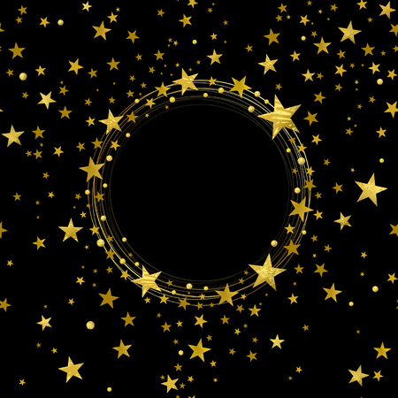 round banner of decorative gold stars on a black background 일러스트
