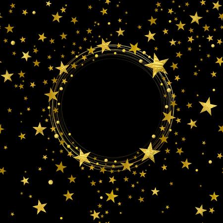 round banner of decorative gold stars on a black background Çizim
