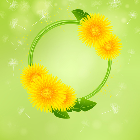 A floral background with a wreath of dandelions